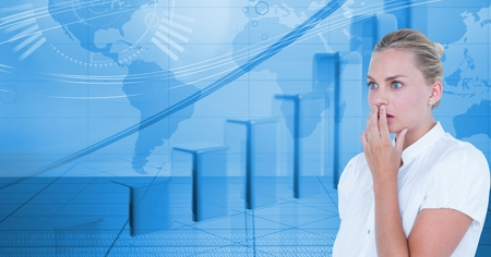 using smart phone: Digital composite of Shocked businesswoman covering mouth against graphs Stock Photo