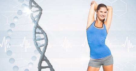Digital composite of Fit woman in sportswear by DNA structure Stock fotó