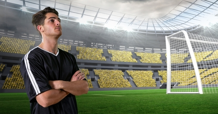 business pitch: Digital composite of Soccer player with arms crossed at stadium Stock Photo