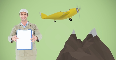 Digital composite of Happy delivery man showing clipboard by 3d mountains and airplane