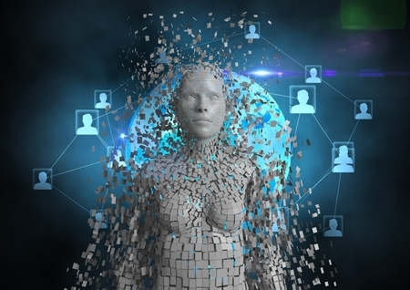 Digital composite of Digitally generated image of 3d human with networking icons