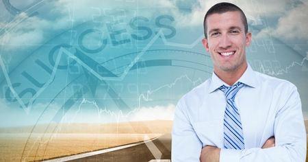 Digital composite of Businessman with arms crossed against success clock Stock Photo
