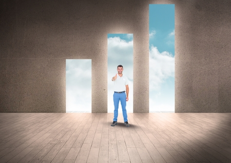 floorboards: Digital composite of Full length of businessman showing thumbs up at doorways