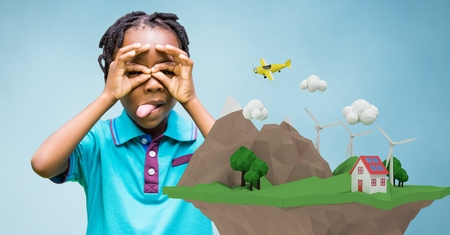 Digital composite of Little girl looking through finger binoculars with low poly earth on foreground