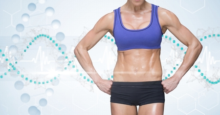 stability: Digital composite of Midsection of masculine woman in sports wear against DNA structure