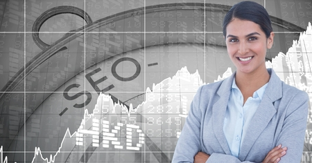 hands tied: Digital composite of Businesswoman smiling against SEO clock