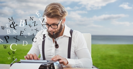Digital composite of Hipster smoking pipe while using typewriter by flying letters