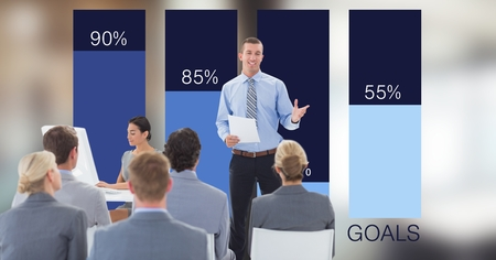 flooring: Digital composite of Businessman giving presentation to colleagues against graphs