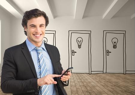 dubious: Digital composite of Businessman using smart phone against drawn doors