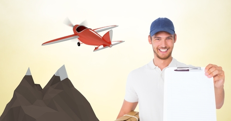 Digital composite of Delivery man showing clipboard against 3d plane