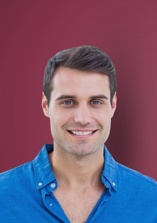 Digital composite of Portrait of handsome man against maroon background