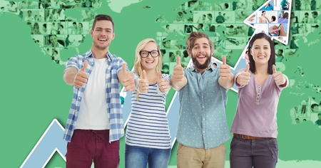 Digital composite of Casual business people gesturing thumbs up against graph Imagens