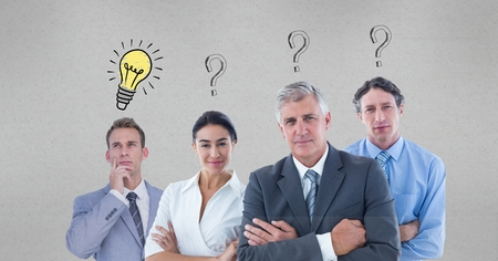 Digital composite of Confident business people with question marks and light bulb