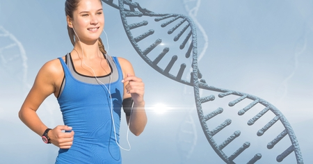 Digital composite of Woman listening to music while jogging by DNA structure Archivio Fotografico