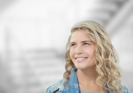 elegant staircase: Digital composite of Thoughtful woman smiling against blurred background