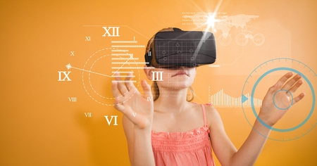 Digital composite of Girl looking at clock seen through VR glasses