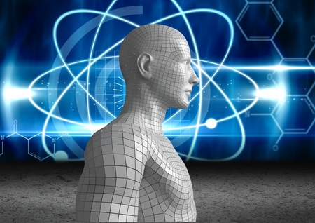 computer network diagram: Digital composite of Digital composite image of 3d human against abstract background