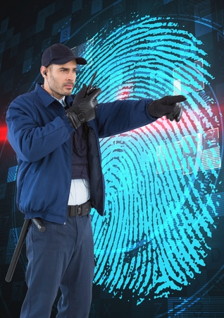 odcisk kciuka: Digital composite of Security guard using radio while pointing away against finger print on screen Zdjęcie Seryjne