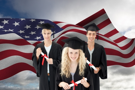 Digital composite of Graduate students against American flag