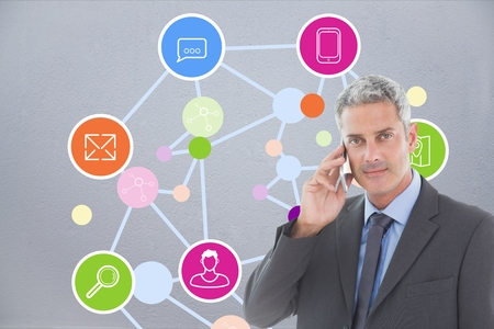 Digital composite of business man talking on phone