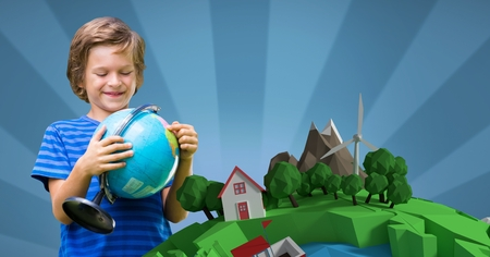 Digital composite of Smiling boy holding globe while standing against 3d image of planet earth against blue backeground