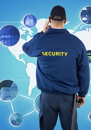 Digital composite of Rear view of security guard looking at various symbols against world map