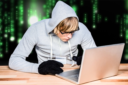 Digital composite of hacker Stock Photo