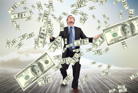 floorboards: Digital composite of business models with falling money Stock Photo
