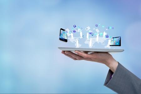 Digital composite of model with device connectors Reklamní fotografie