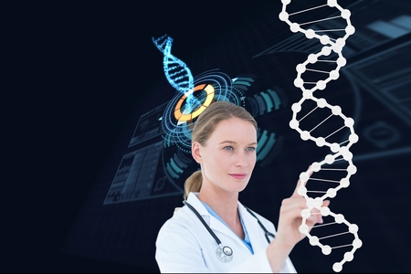 volume knob: Digital composite of Medical doctor with DNA graphics