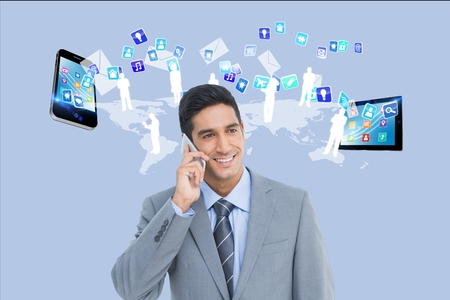Digital composite of APPS -  business man with devices Stock Photo