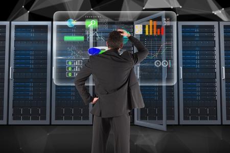 cowl: Digital composite of data center with businessman