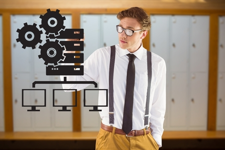 Digital composite of model drawing in server room Stock Photo