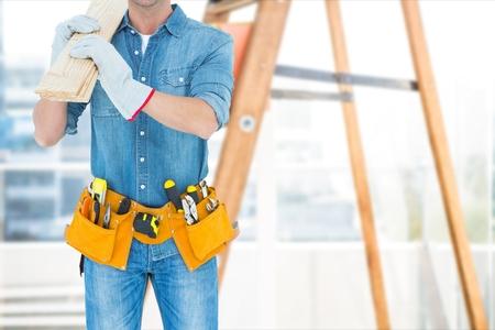 Digital composite of carpenter at work