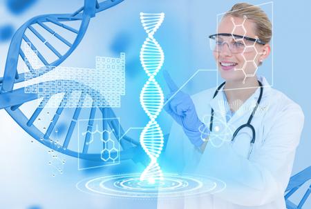 Composito digitale di modelli medicali con grafica o sfondi DNA Archivio Fotografico - 79323781