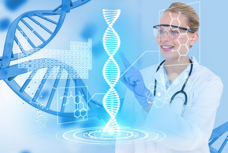 Digital composite of Medical models with DNA graphics or backgrounds Фото со стока