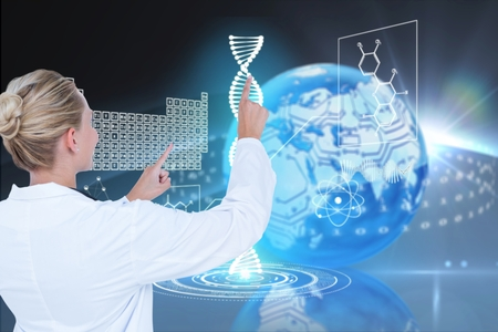 Digital composite of Medical doctor with DNA graphics or backgrounds
