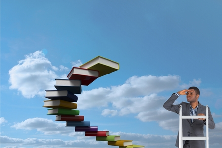 man looking out: Digital composite of model on ladder looking for books Stock Photo