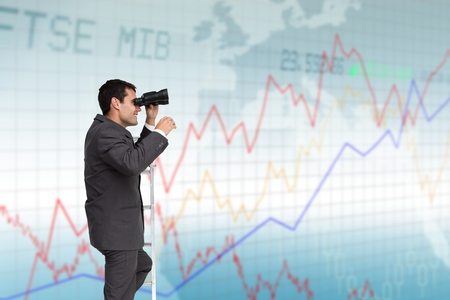 Digital composite of Businessman with binoculars on ladder against graphic background