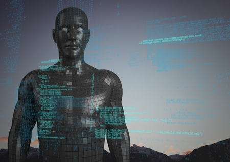 Digital composite of Blue code against black male AI and mountain tops and sky Stock Photo