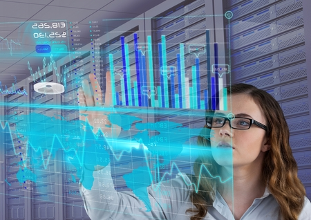 Digital composite of futuristic interface, servers. businesswoman with glasses
