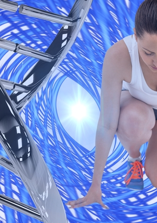 Digital composite of runner with iron dna chain and blue lights background