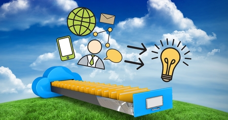 Digital composite of a filing cabinet against the sky an the grass with business drawings very colorful