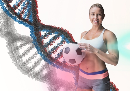 Digital composite of woman with soccer ball with blue, grey and red dna chain in a white background and some flares