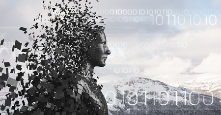 Digital composite of White binary code and black male AI against snowy mountain tops