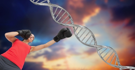 Digital composite of woman boxing with silver DNA chain. Sky background