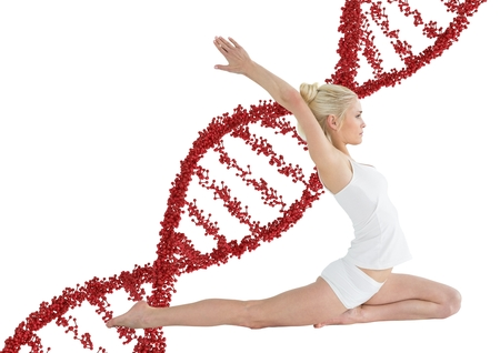 Digital composite of woman doing stretching  with red dna chain behind  her