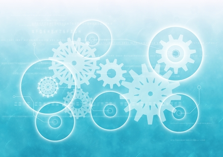Digital composite of White gear graphic against blue gradient Stock Photo