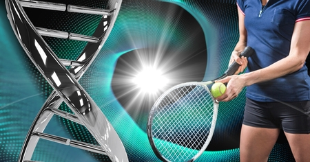 Digital composite of tennis player with iron dna chain against a black and blue lights background