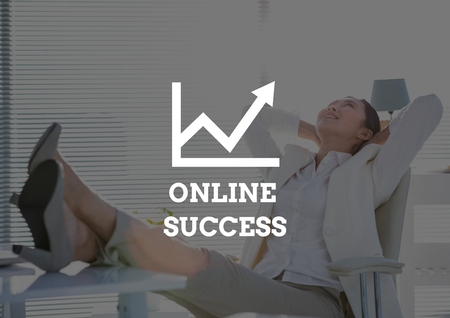 swivel: Digital composite of Online success text against business woman feet on desk